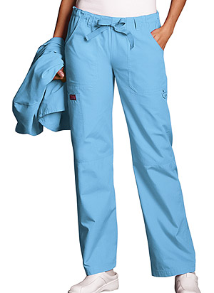 Blue Mist Drawstring Pants with Cargo Pockets